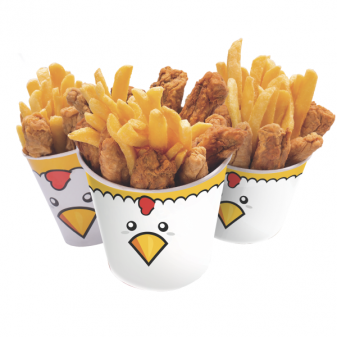 balde de fritas com frango